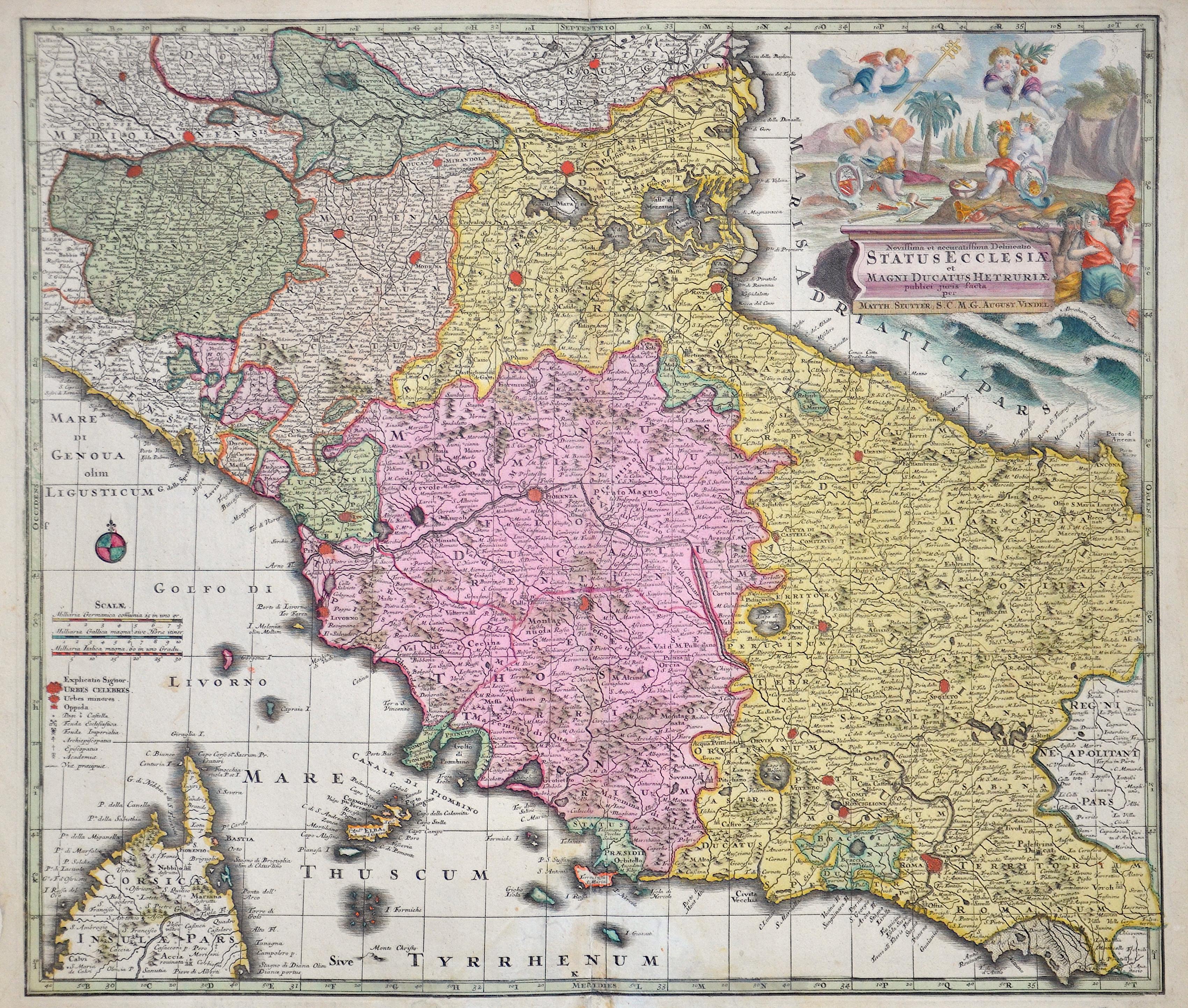 Seutter Albrecht Karl Novissima et accuratissima Delmeatio Staus Eclcesiae et Magni Ducatus Hetruriae, publici jurius facta per Matth. Seutter