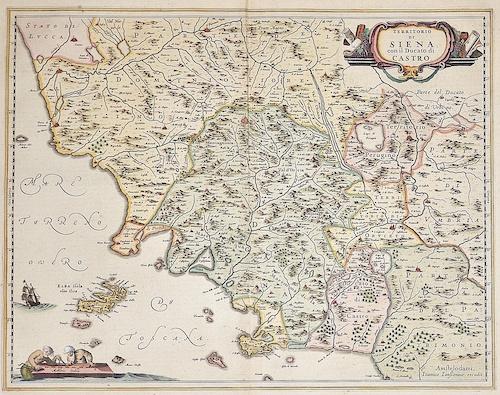 Janssonius  Territorio di Siena con il Ducato di Castro