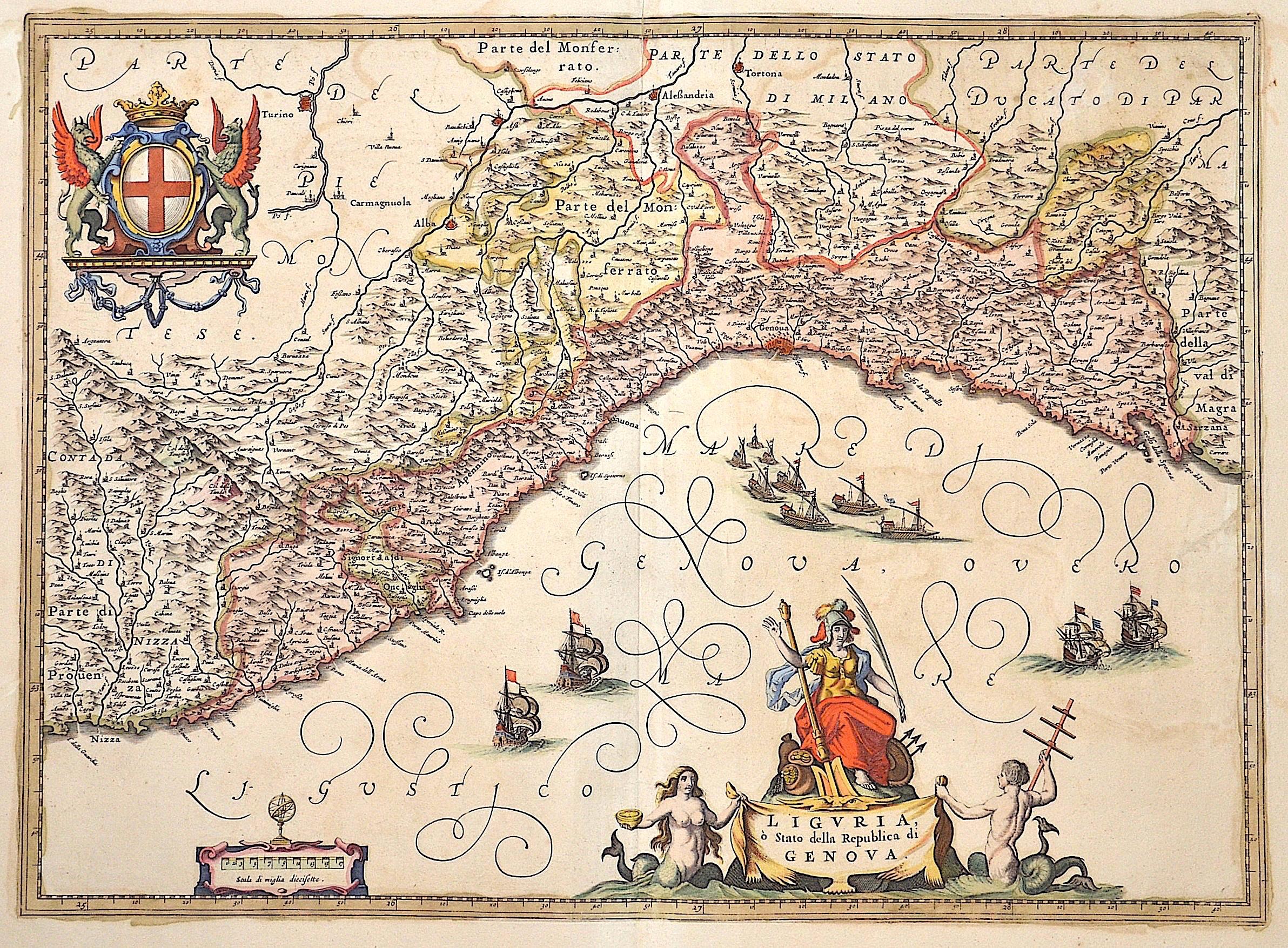 Janssonius Johann Liguria, o´Stato della Republica di Genova