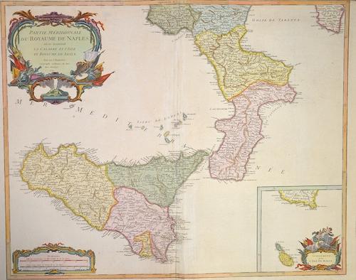 Vaugondy, de  Partie meridionale du Royaume de Naples , au se trouvent la Calabrie et l´isle et Royaume de Sicilie