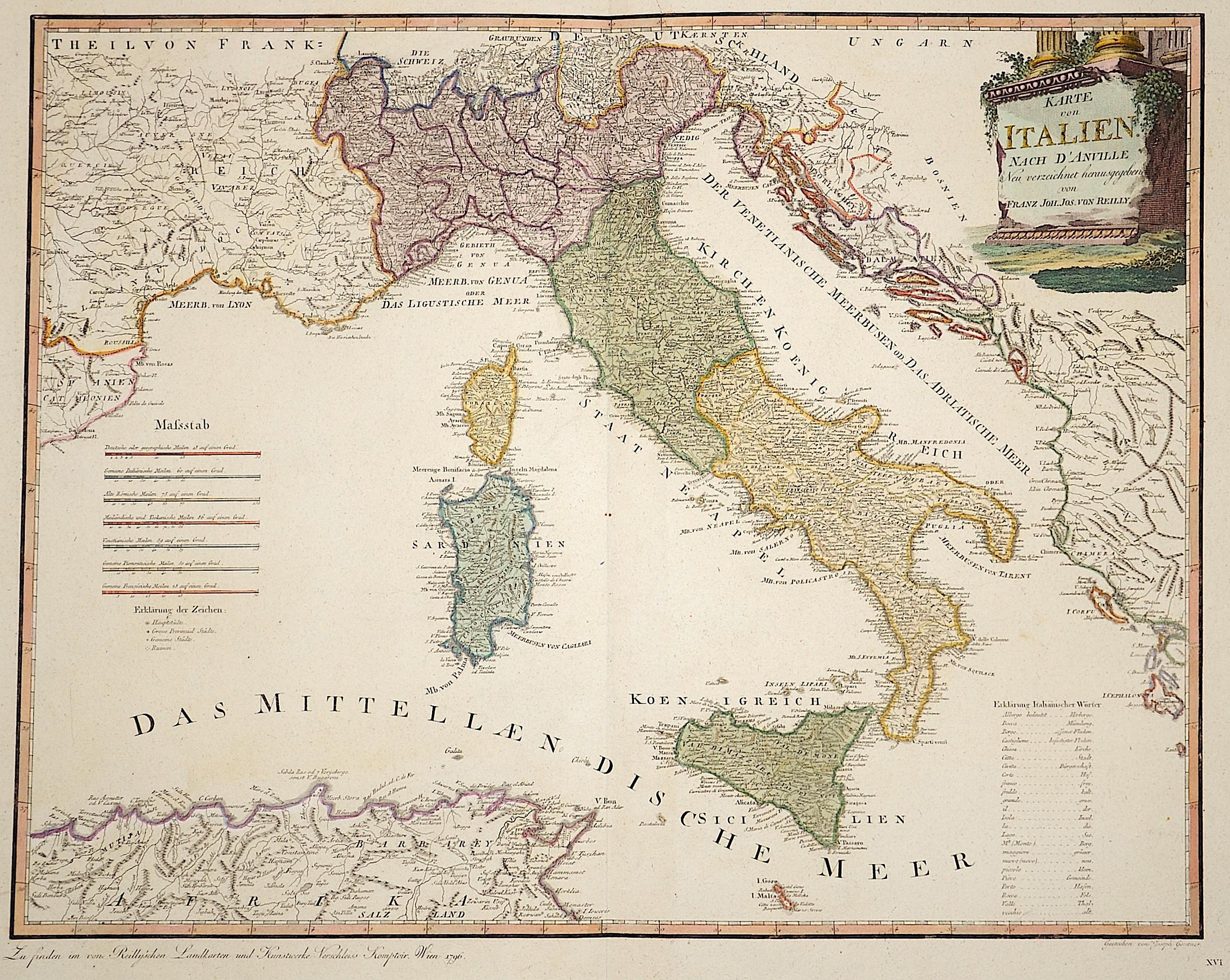 Reilly Franz Johann Joseph Karte von Italien nach D´Anville