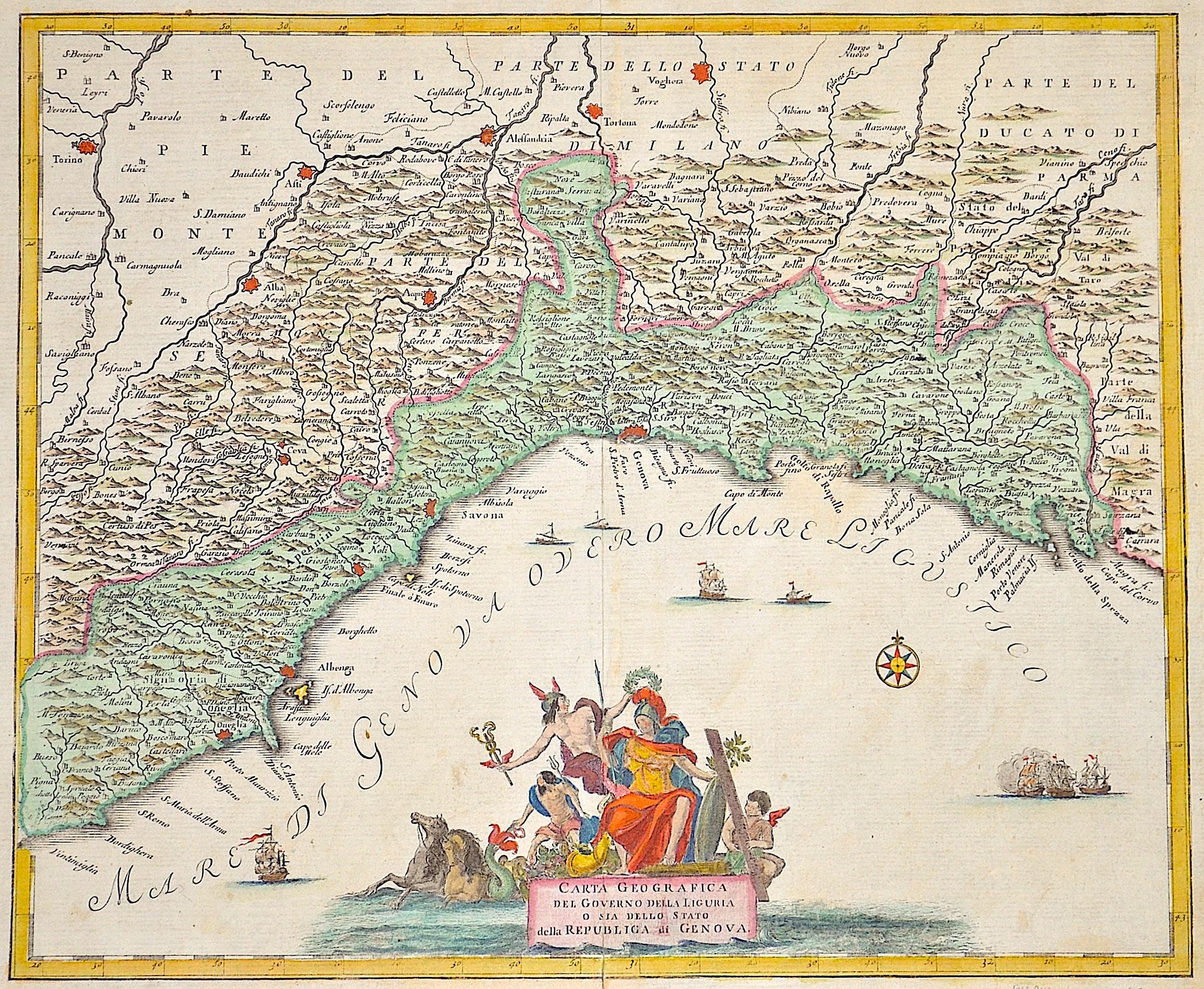 Anonymus  Carta geographica dell Governo della Liguria o sia dello stato della Republica di Genova