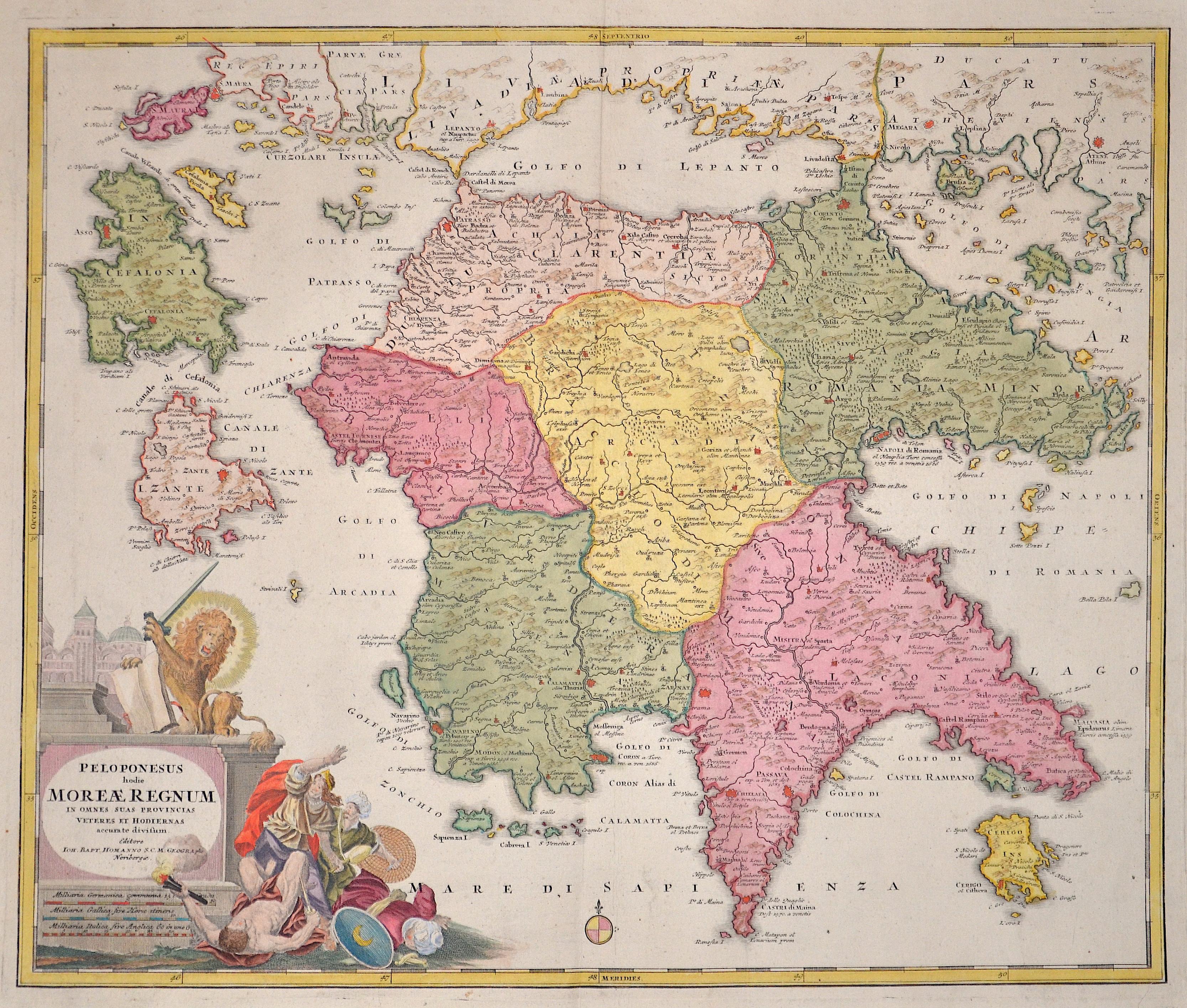 Homann  Peleponesus hodie Moreae regnum in omnes suas Provincias verters et hodiernas..