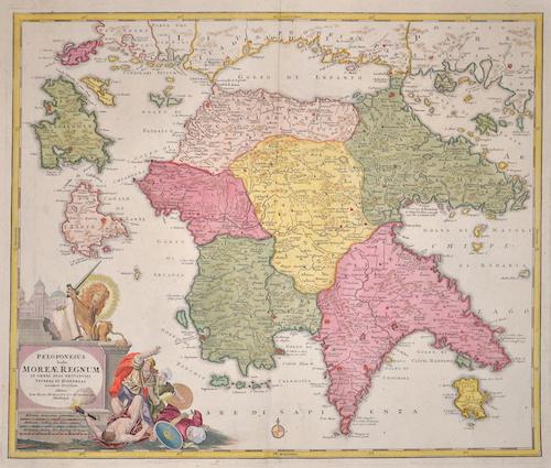 Homann Johann Babtiste Peleponesus hodie Moreae regnum in omnes suas Provincias verters et hodiernas..