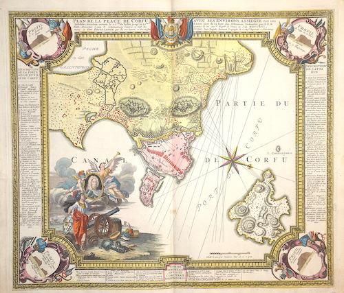 Homann Johann Babtiste Plan de la place de Corfu acec ses invirons, as siegee par le insideles, tranchee ouverte le 25me de Juillet jusqu´au 22me d´Aout……