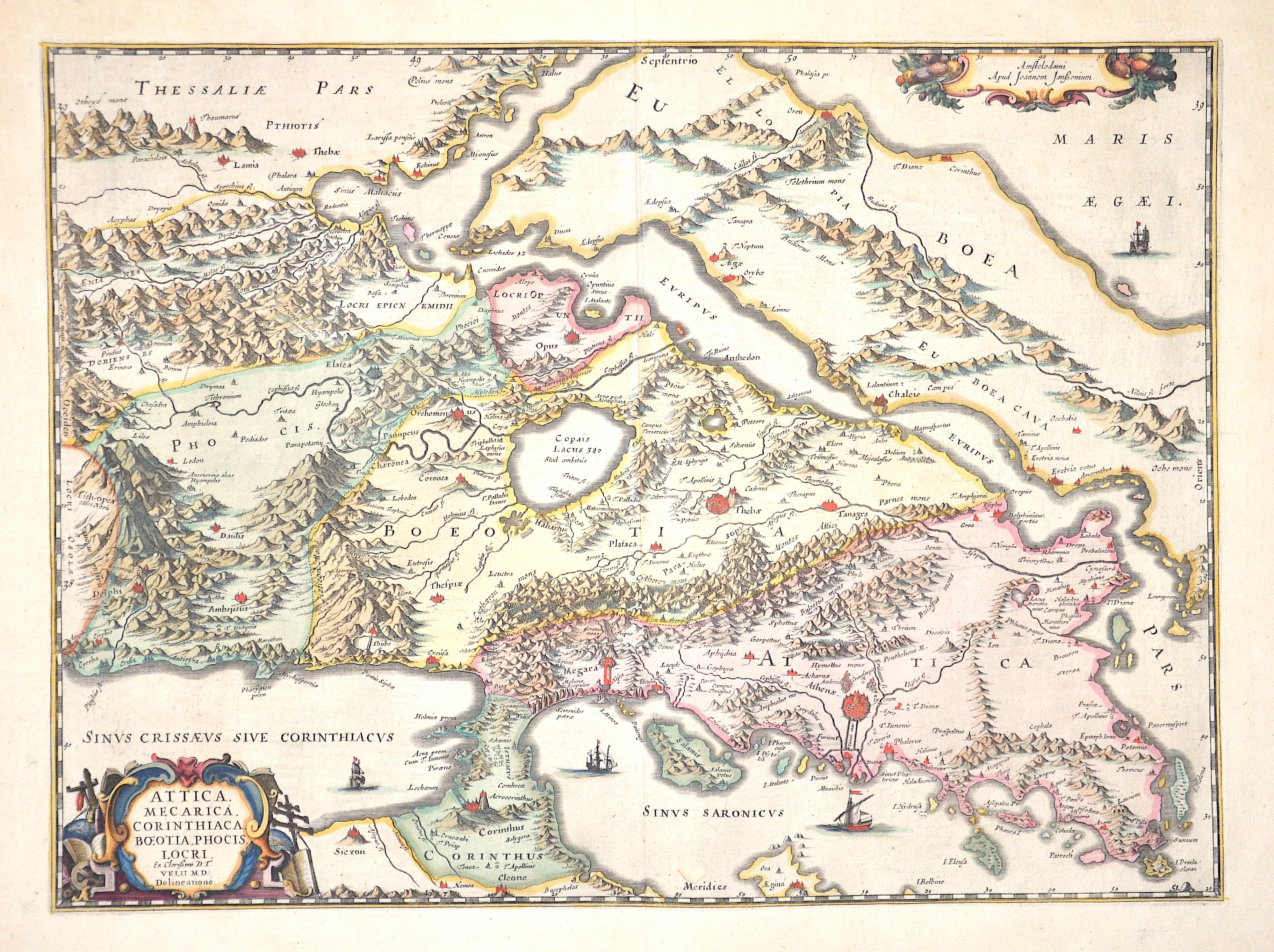 Janssonius Johann Attica, Mecarica Corinthiaca, Boeotia, Phocis, Locri.