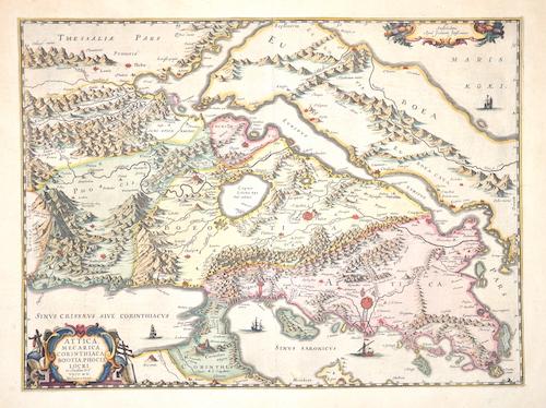 Janssonius  Attica, Mecarica Corinthiaca, Boeotia, Phocis, Locri.