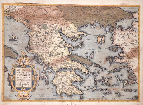 Ortelius Abraham Graeciae universae secundum Hodiernum Situm Neoterica descriptio