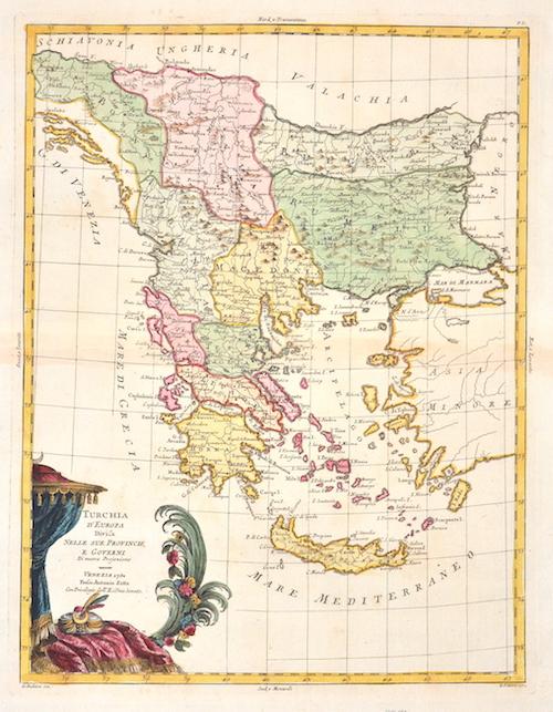 Zatta Antonio Turchia d´Europa Divisa Nelle Sue Provincie, e Governi