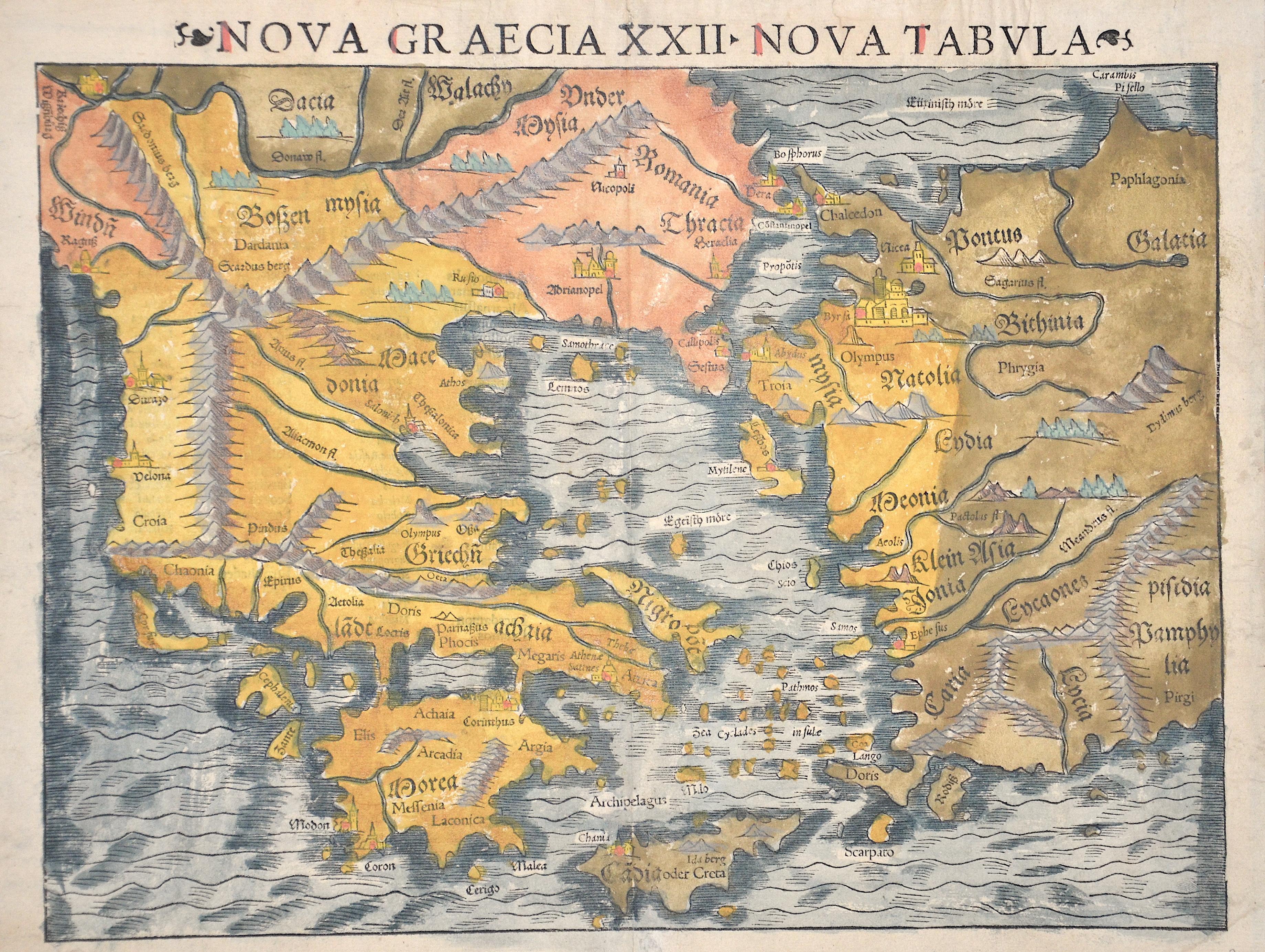 Ptolemy/Münster Sebastian Claudius Nova Graecia XXII – Nova Tabula