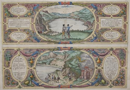 Braun/Hogenberg  Von der Höl Sibylle Cumane/ Von dem Agnianischen See/Charonischen Hölen und Sudatorio oder Schweißbadt S. Germani
