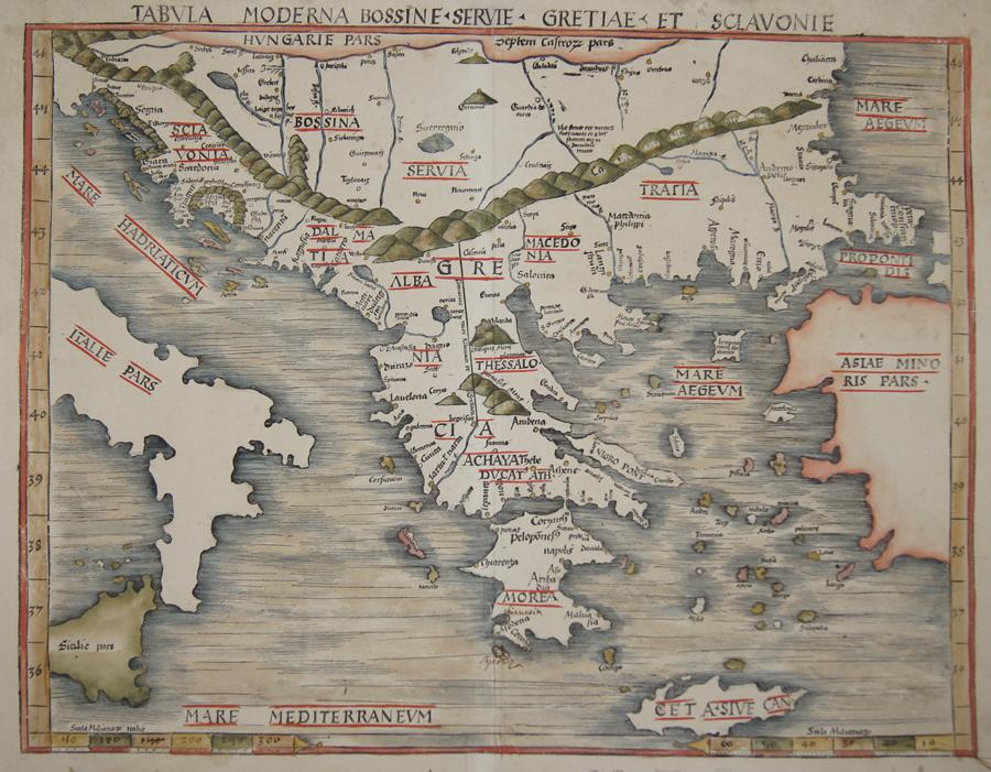 Ptolemy/Waldseemüller- Johann Schott  Tabula Moderna Bossine, Servie, Gretiae, et Sclavonie