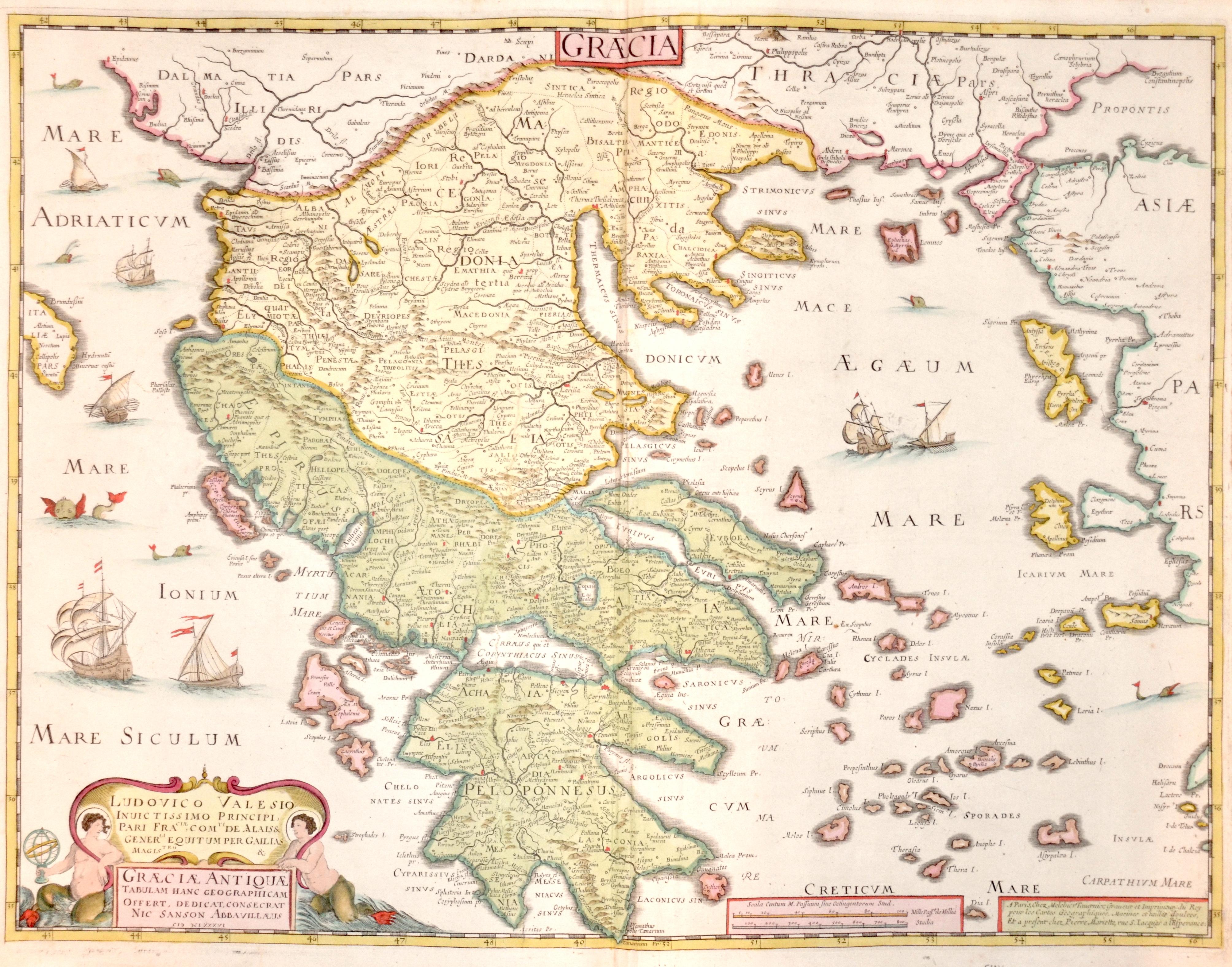 Tavernier/ Sanson Nicolas  Ludovico Valesio Inuic tissimo Principi, pari Fraclae, comti de Alais & Generli Equitum per Gailias magistro & Graeciae Antiquae Tabulam Hanc..