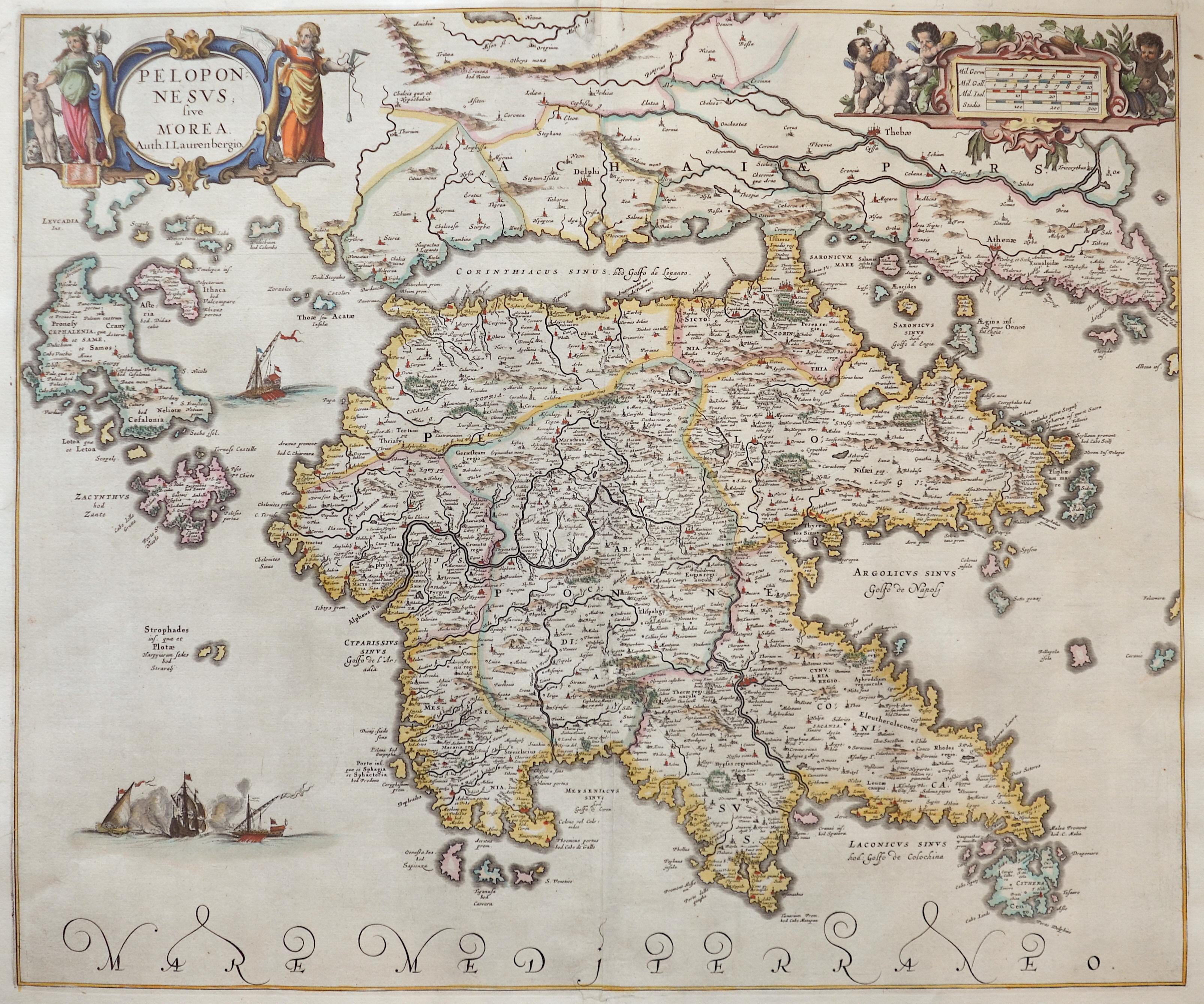 Janssonius Johann Peloponesus sive Morea. Auth. I. Laurenbergio.