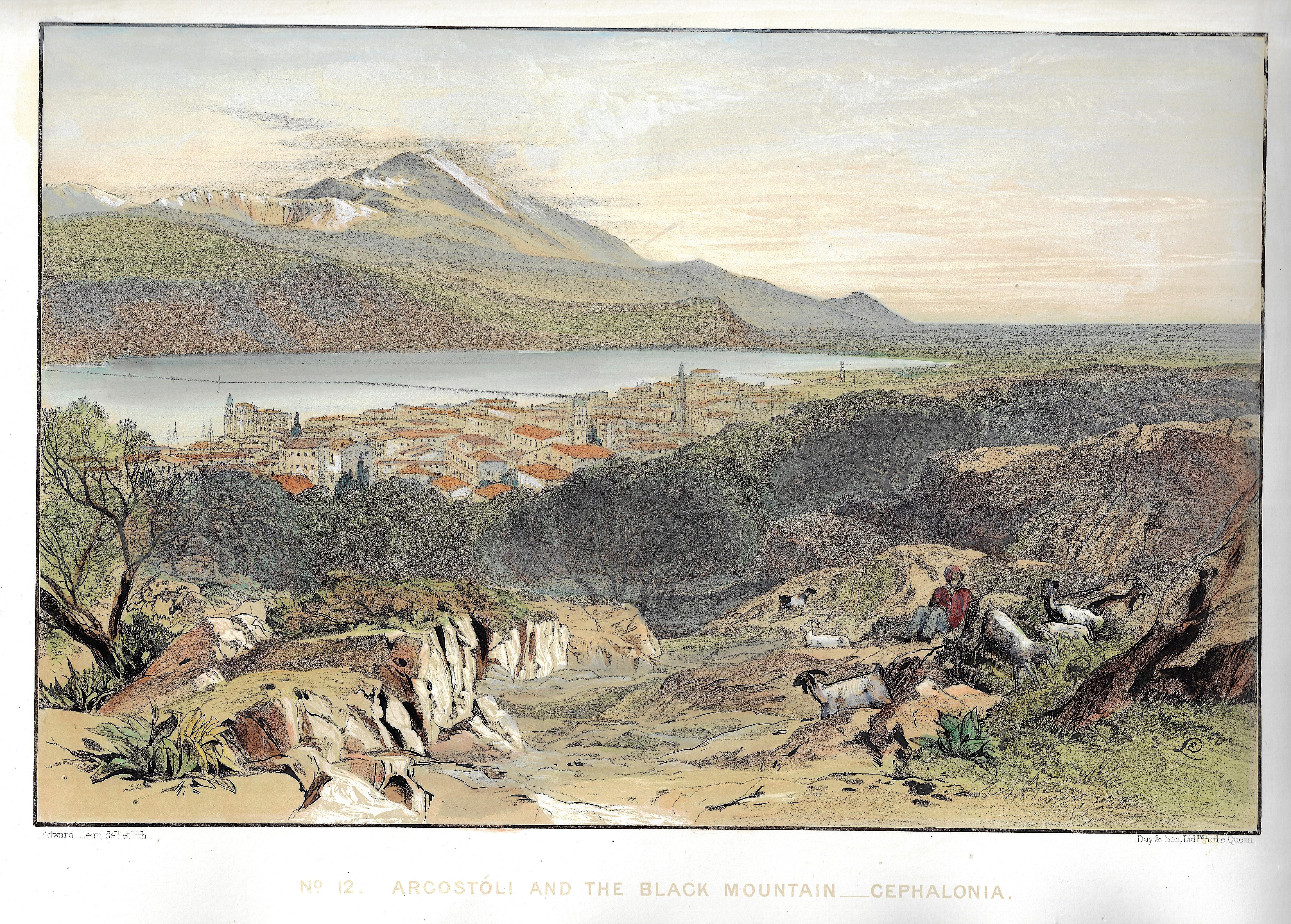 Lear Edward No. 12. Argostóli and the Black Mountain – Cephalonia.