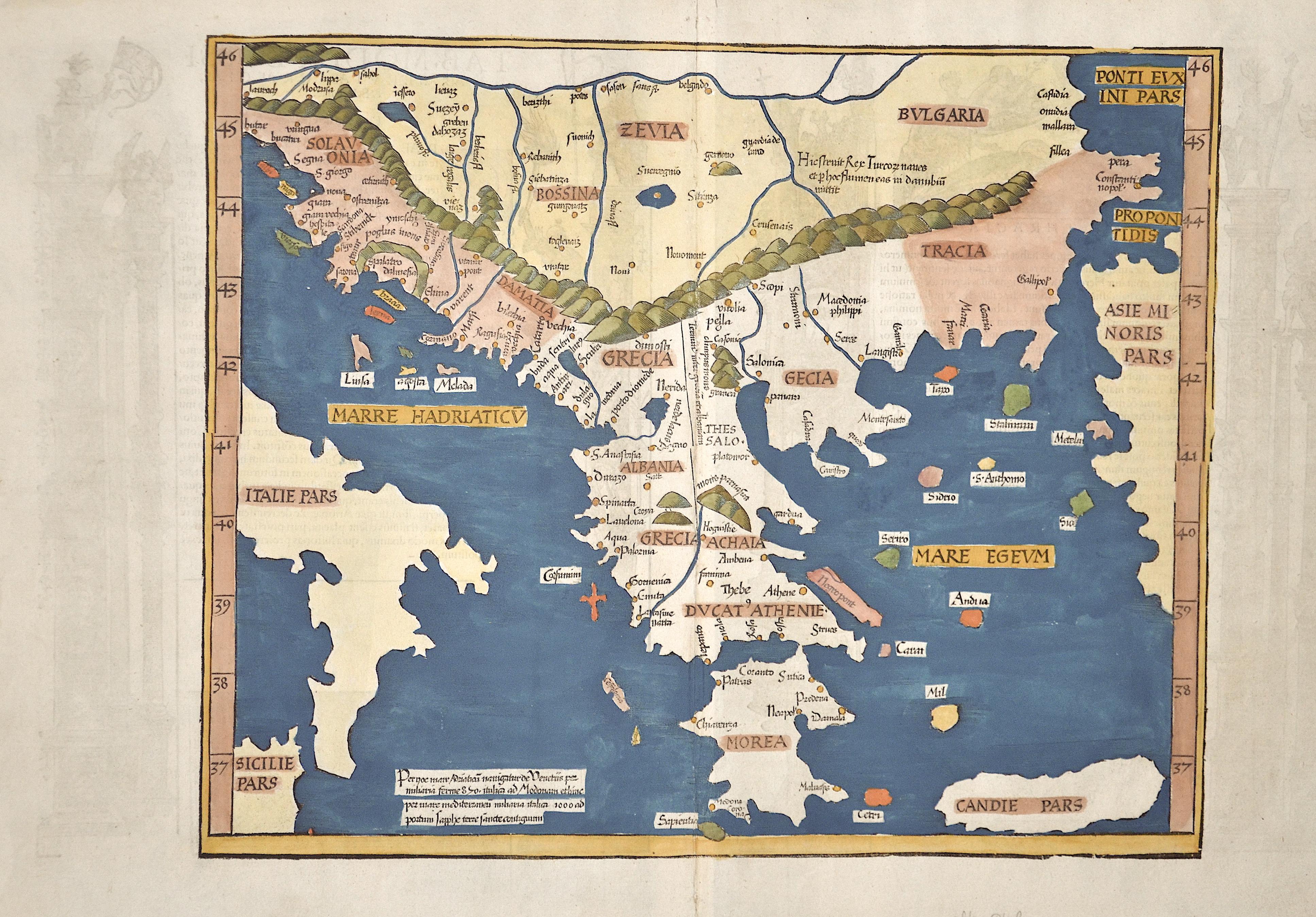 Ptolemy/ Fries Claudius/ Laurent ( Lorenz) Tab. Moder. Bossinae, Serviae, kGraeciae & Sclavoniae. Et primo de Graecia.