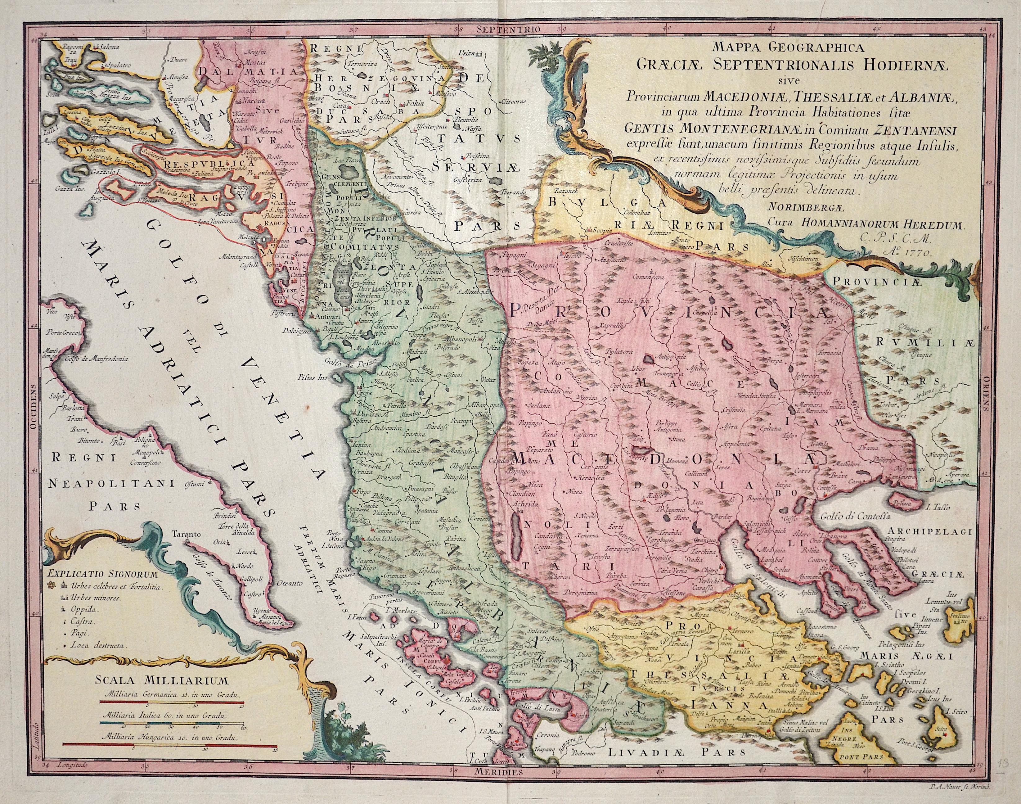 Homann Erben  Mappa Geographica Graeciae Septentrionalis Hodiernae sive Provinciarum Macedoniae, Thessaliae et Albaniae