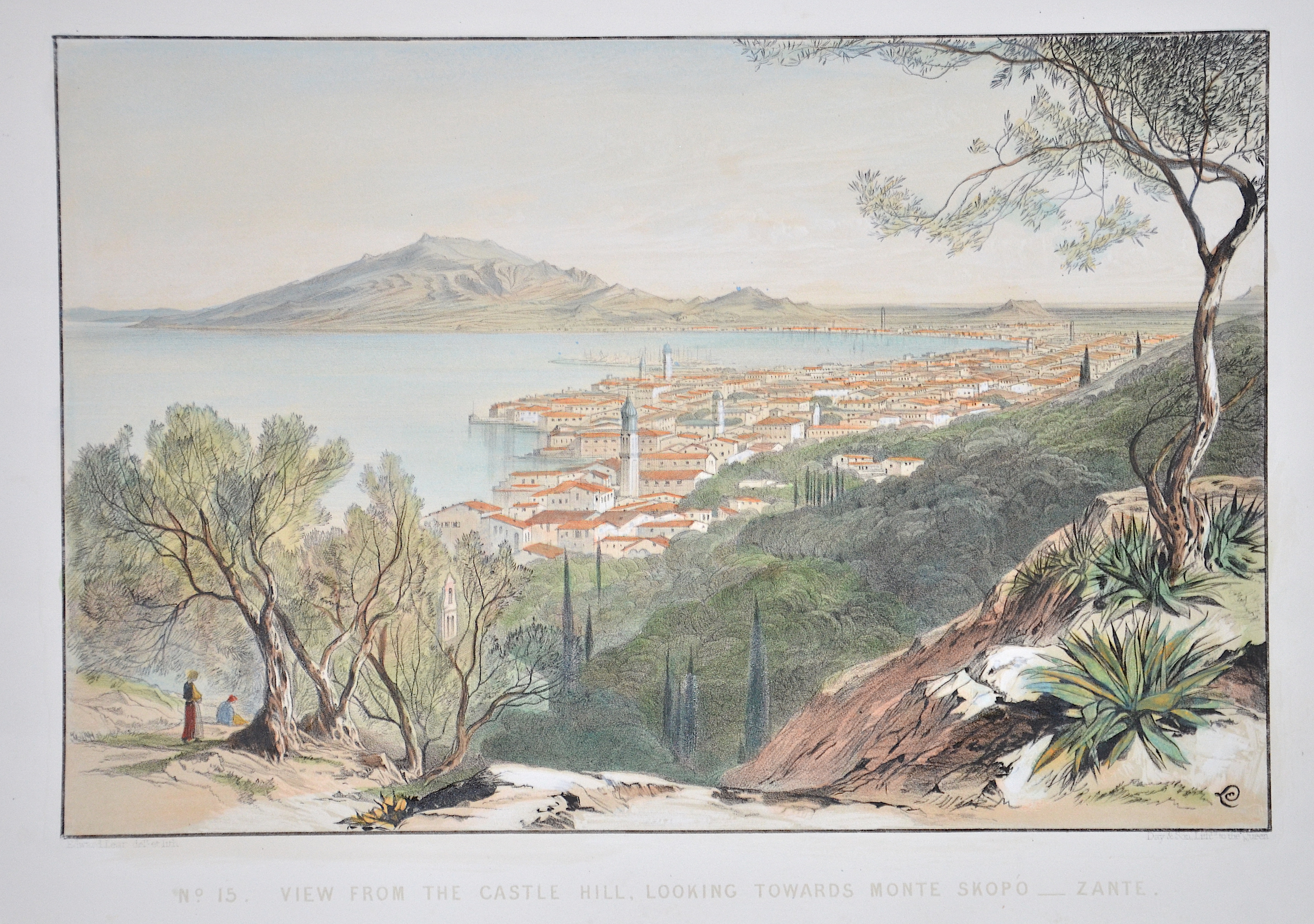 Lear Edward No. 15. View from the Castle Hill, looking towards Monte Skopó – Zante.