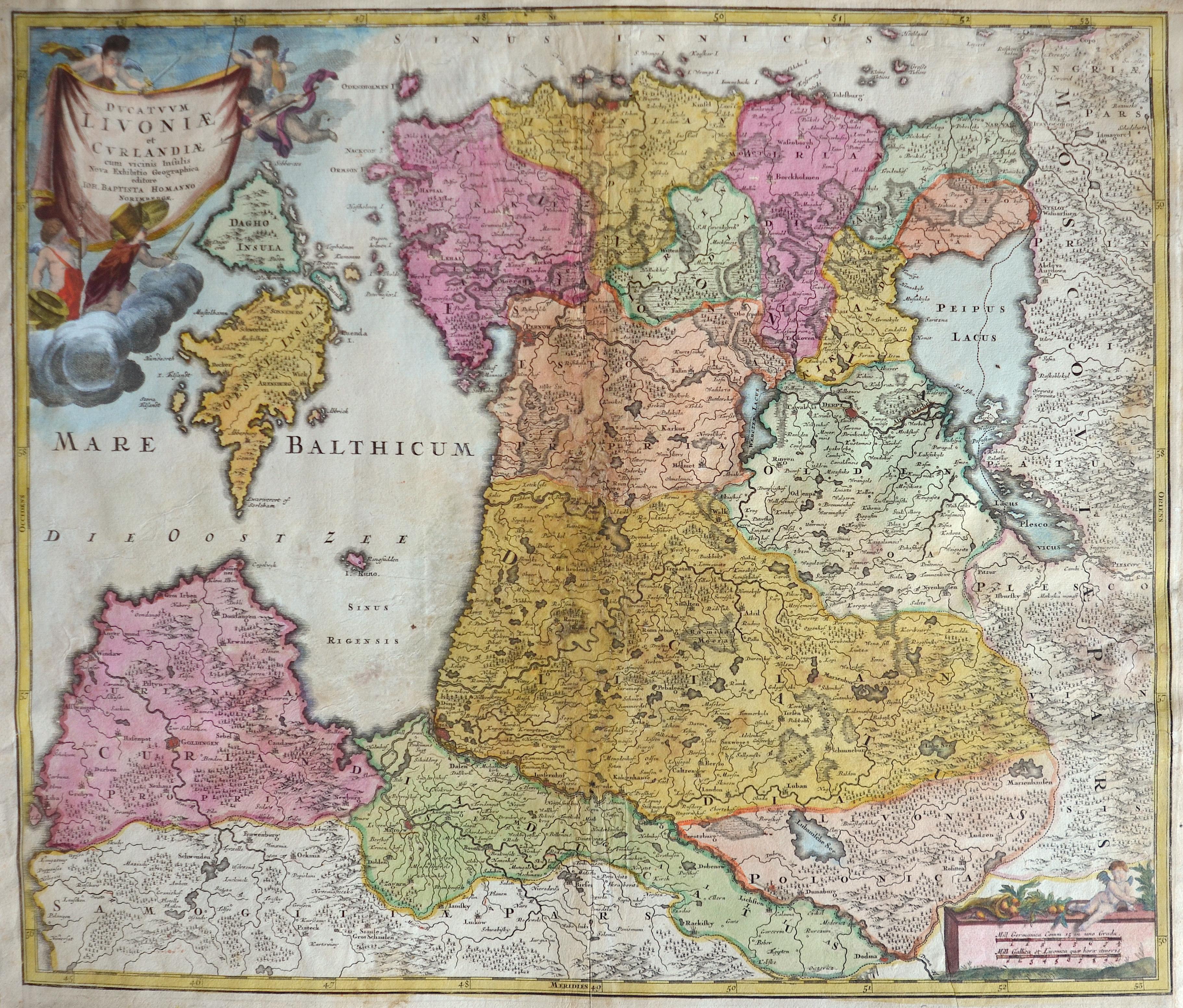 Homann Johann Babtiste Ducatuum Livoniae et Curlandiae cum vicinis Insulis Nova Exhibitio Geographica editore..