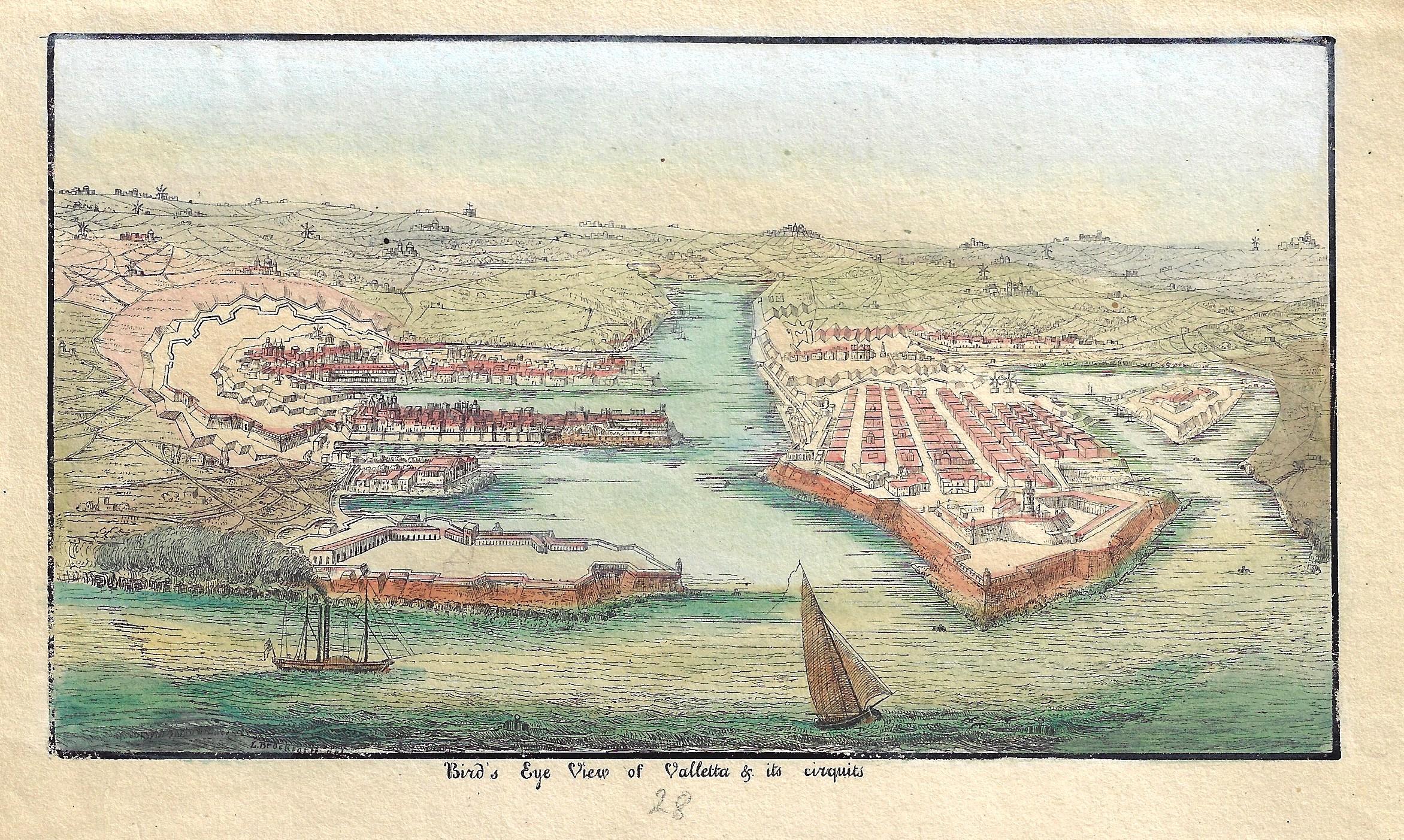 Brocksortt L. Bird's Eye View of Valletta & ist cirquits