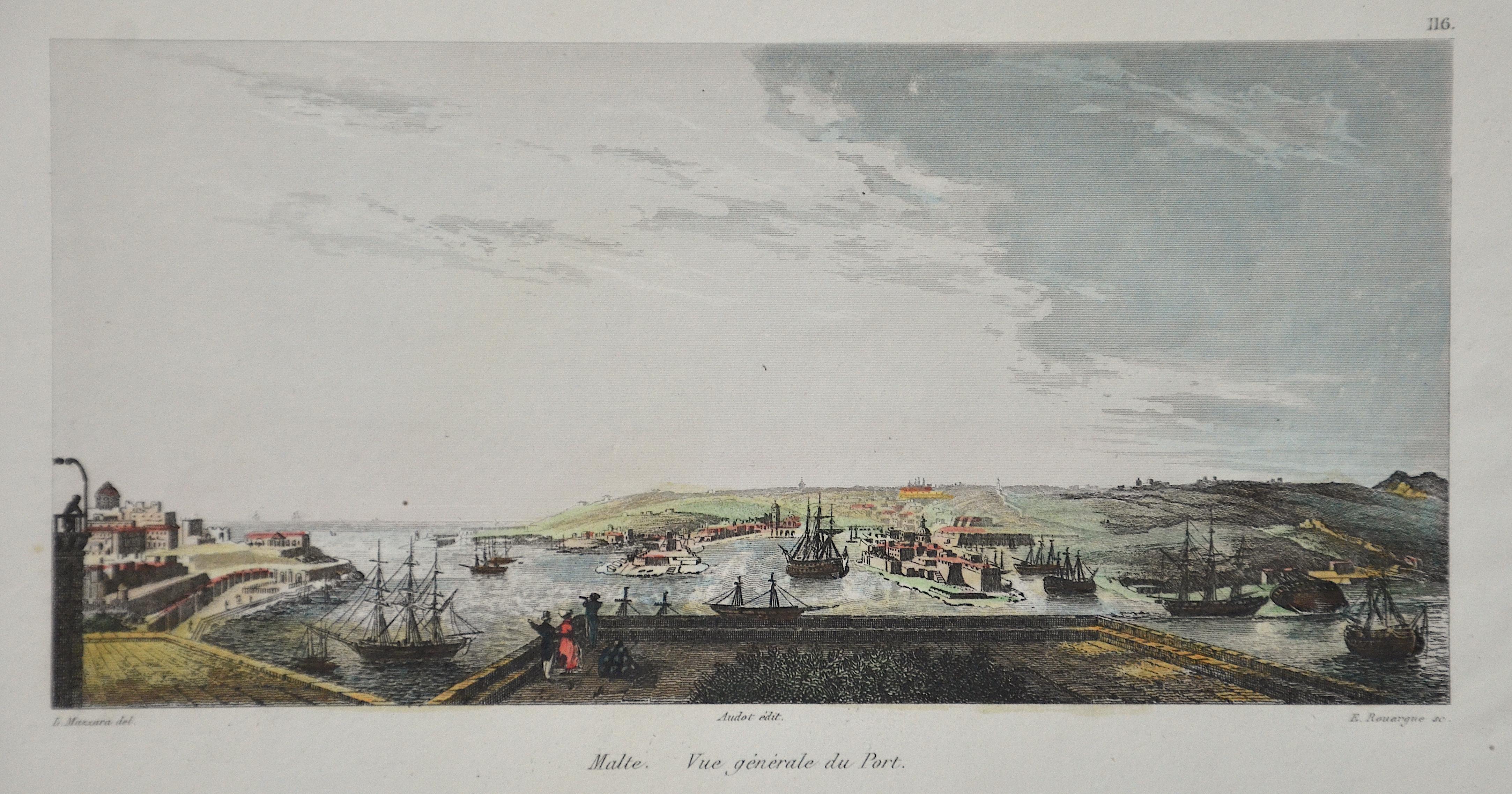 Rouargue  Malte. Vue générale du Port.