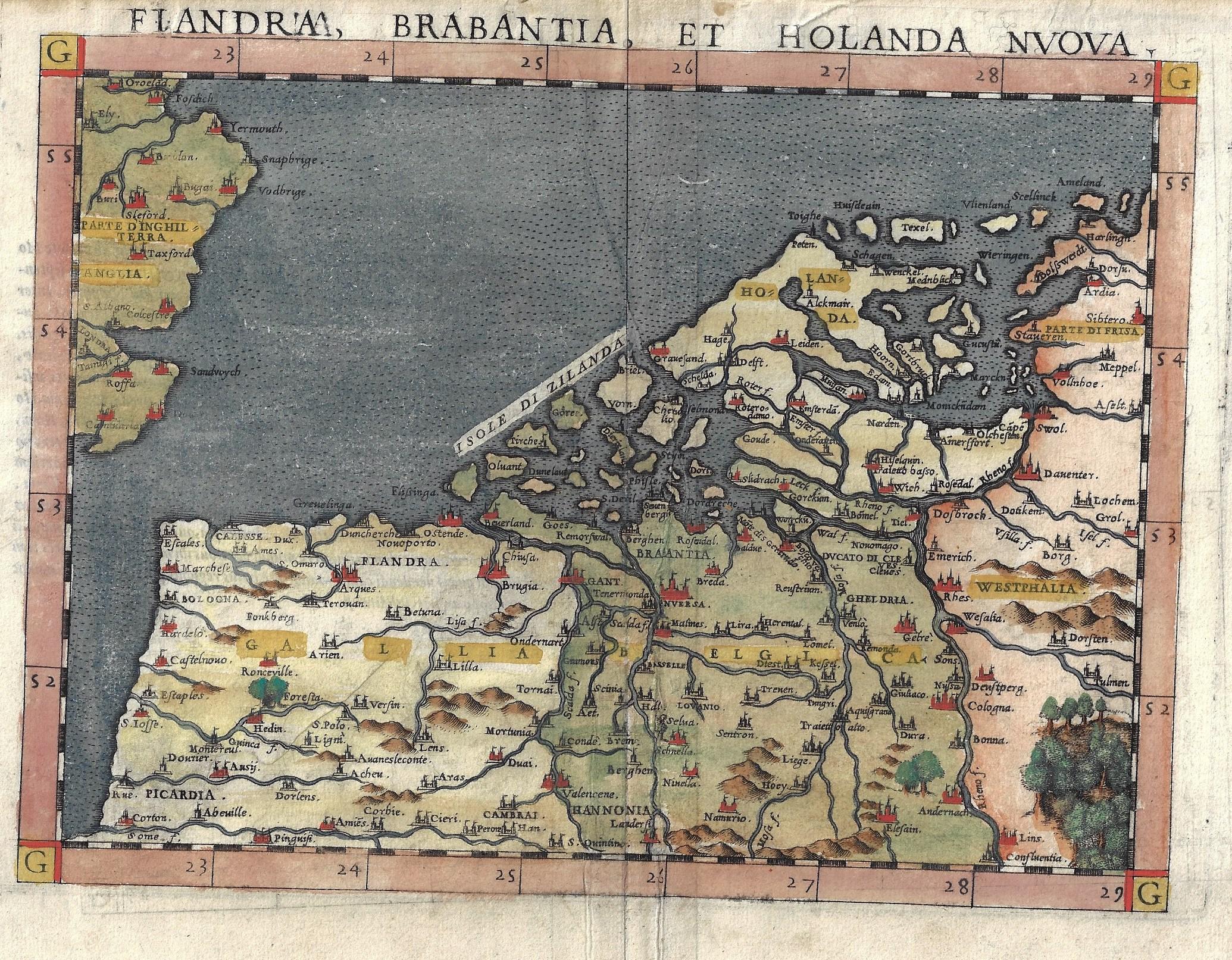 Ruscelli Girolamo Flandria, Brabantia, et Holanda Nuova.