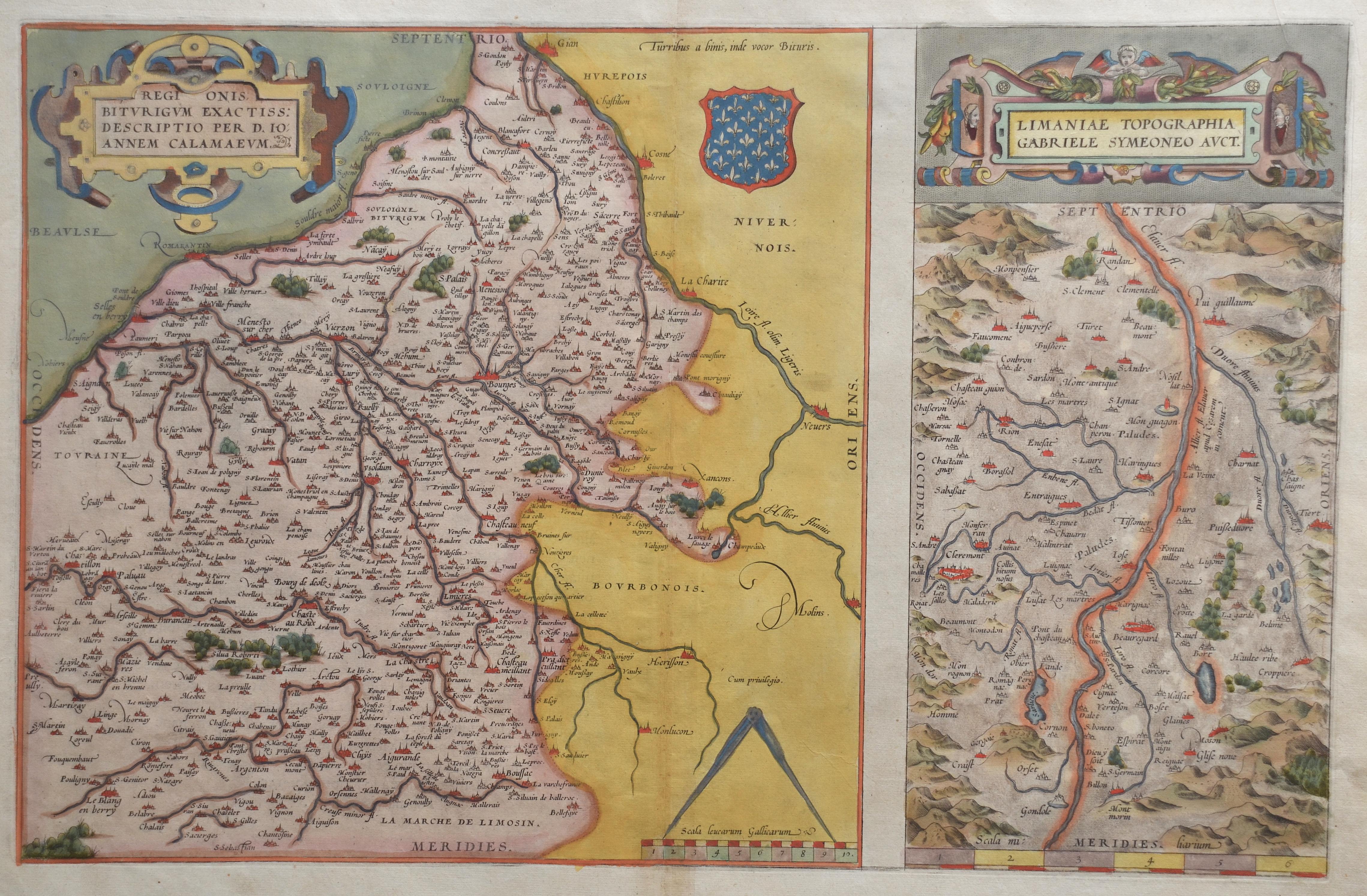 Ortelius Abraham Regionis, Biturigum exactiss: descriptio per d. 10 annem calamaeum. / Limaniae Topographia, Gabriele symeoneo auct.