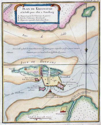Anonymus  Plan de Kronstad et la Passe pour aller Petersbourg