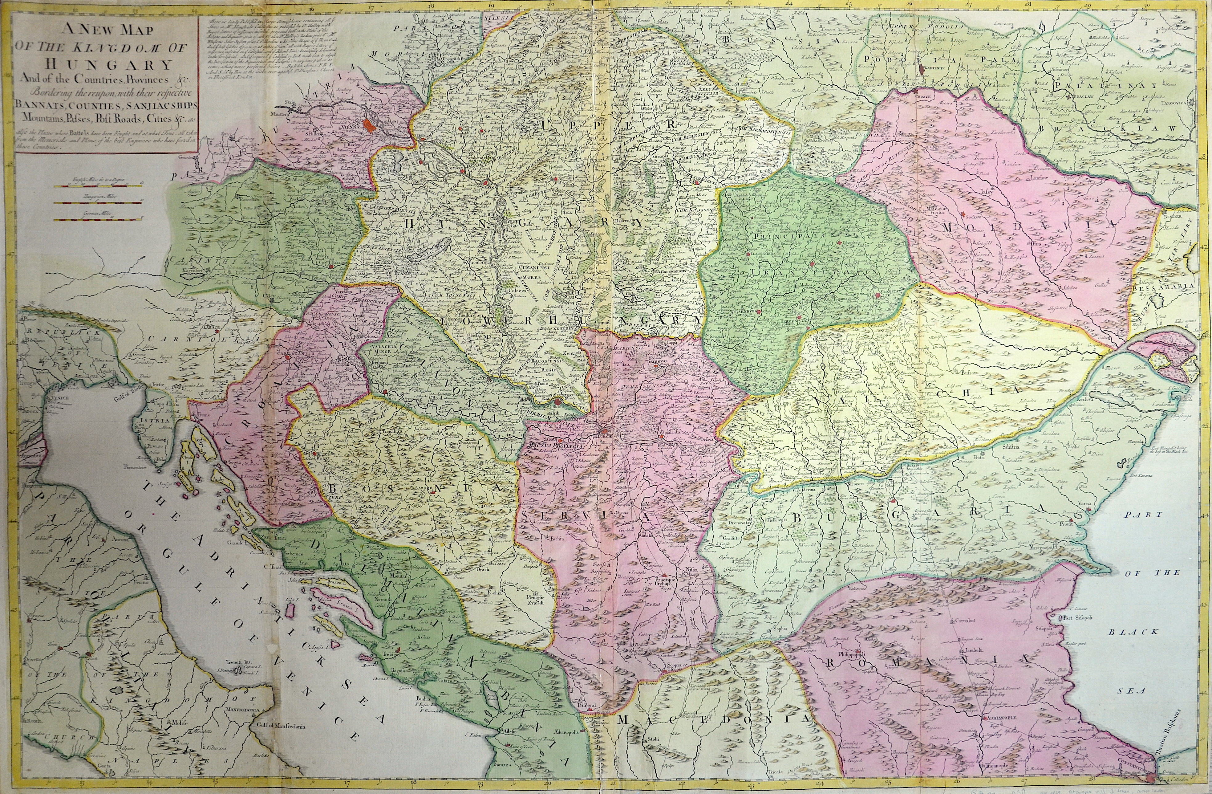 Senex  A new map of the Kingdom of Hungary and of the Countries, Provinces….Bannats,Counties, Sanjiac ships….