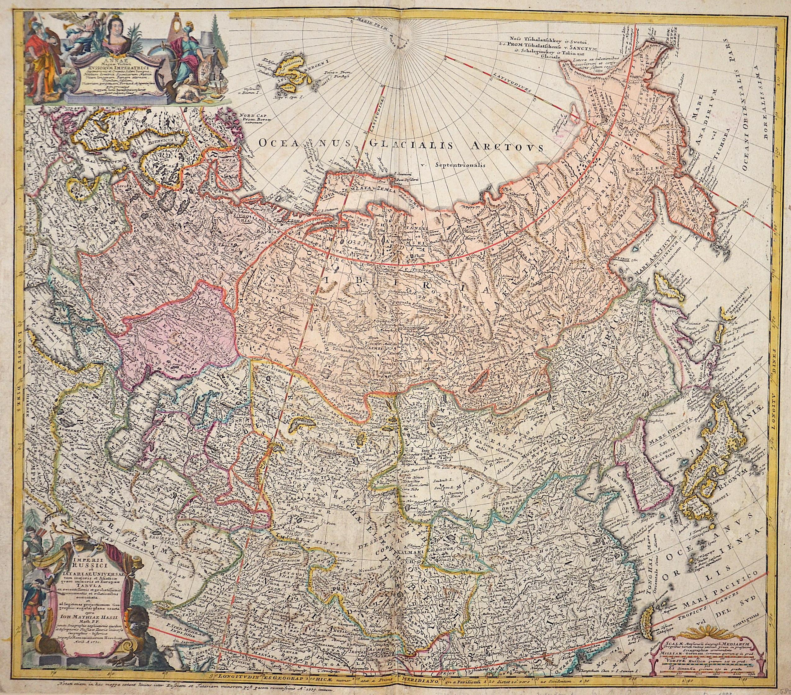 Homann Erben  Imperii Russici et Tartariae universae tam majoris et Asiaticae quam minoris et Europaeae tabula…