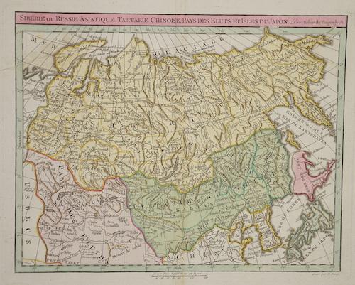 Vaugondy,de  Siberiae ou Russie Asiatique, Tartarie, Chinoise, pays des Elutz et isles du Japon