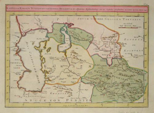 Bellin Jacques Nicolas Karte von Karazm Turkestan und großem Bukarey zu der allgemeinen Reisebeschreibung aus den englischen Schrifstellern