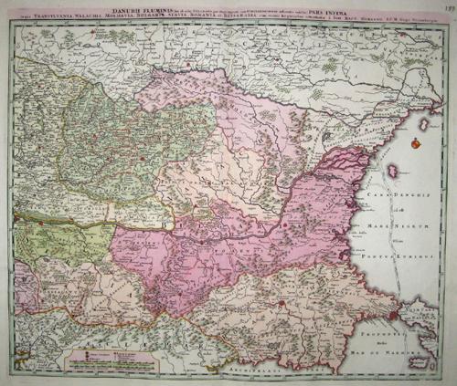 Homann  Danubii Fluminis pars infima, in qua Transyvania, Wallachia, Moldavia, Bulgari, Servia, Romania et Bessarabia