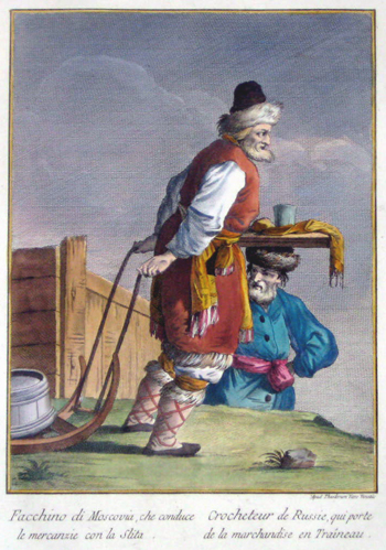 Viero Th. Facchino di Moscovia, che conduce le Mercanzie con la Slita/ Crocheteur de Russie, qui porte de la marchandise en Traineau