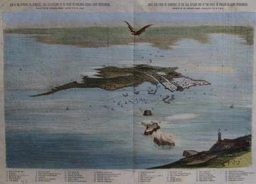 Laly  Bird´s eye view of Cronstadt of the isle Kotline and of the gulph of Finland to Saint- Petersbourg