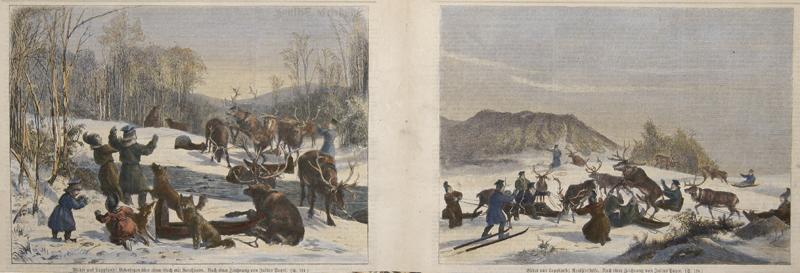 Payer J. Bilder aus Lappland: Uebersetzten über einen Bach mit Renthieren/ Renthierstrike