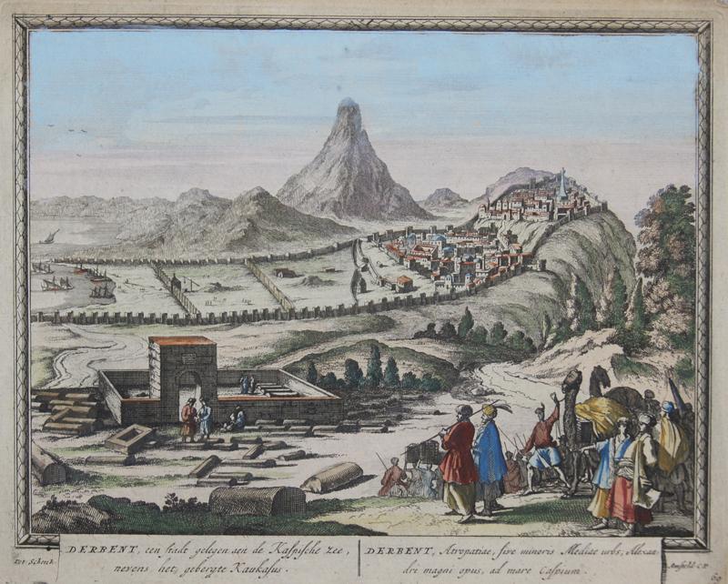 Schenk  Derbent, een Stadt gelegen aen de Kaspische zee nevens het gebergte Kaukasus..