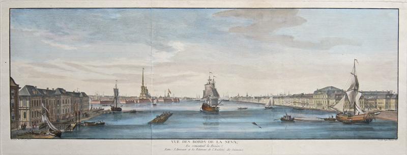 Lespinasse  Vue des Bords de la Neva, En remontant la Riviere, Entre l' Amiraute et les Batiments de l'Academie des Sciencea.