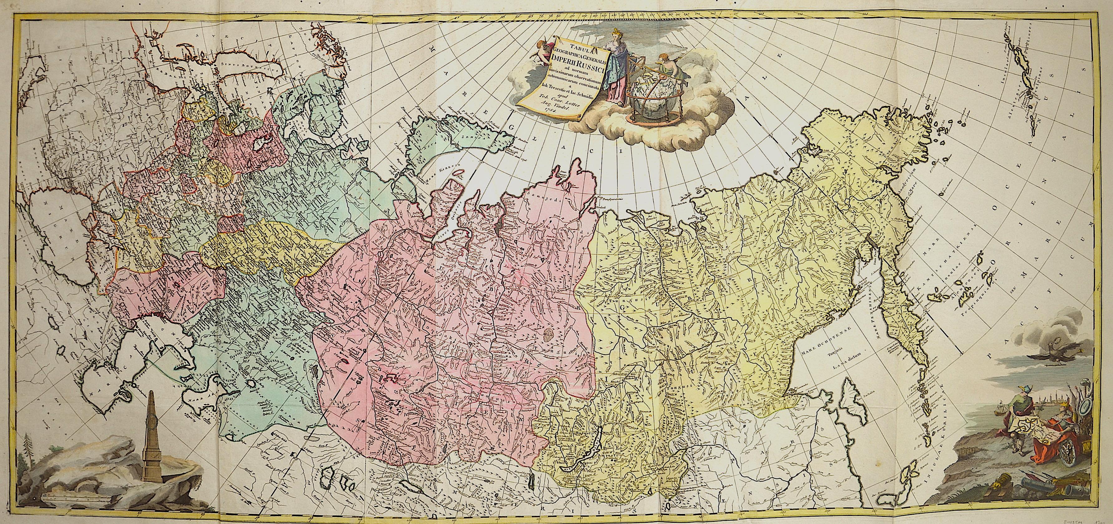 Treskot/ Schmidt Johann/ Jacob Tabula Geographica Generalis Imperii Russici ad normam novis sinarum observationum astronomiearum concinnata.