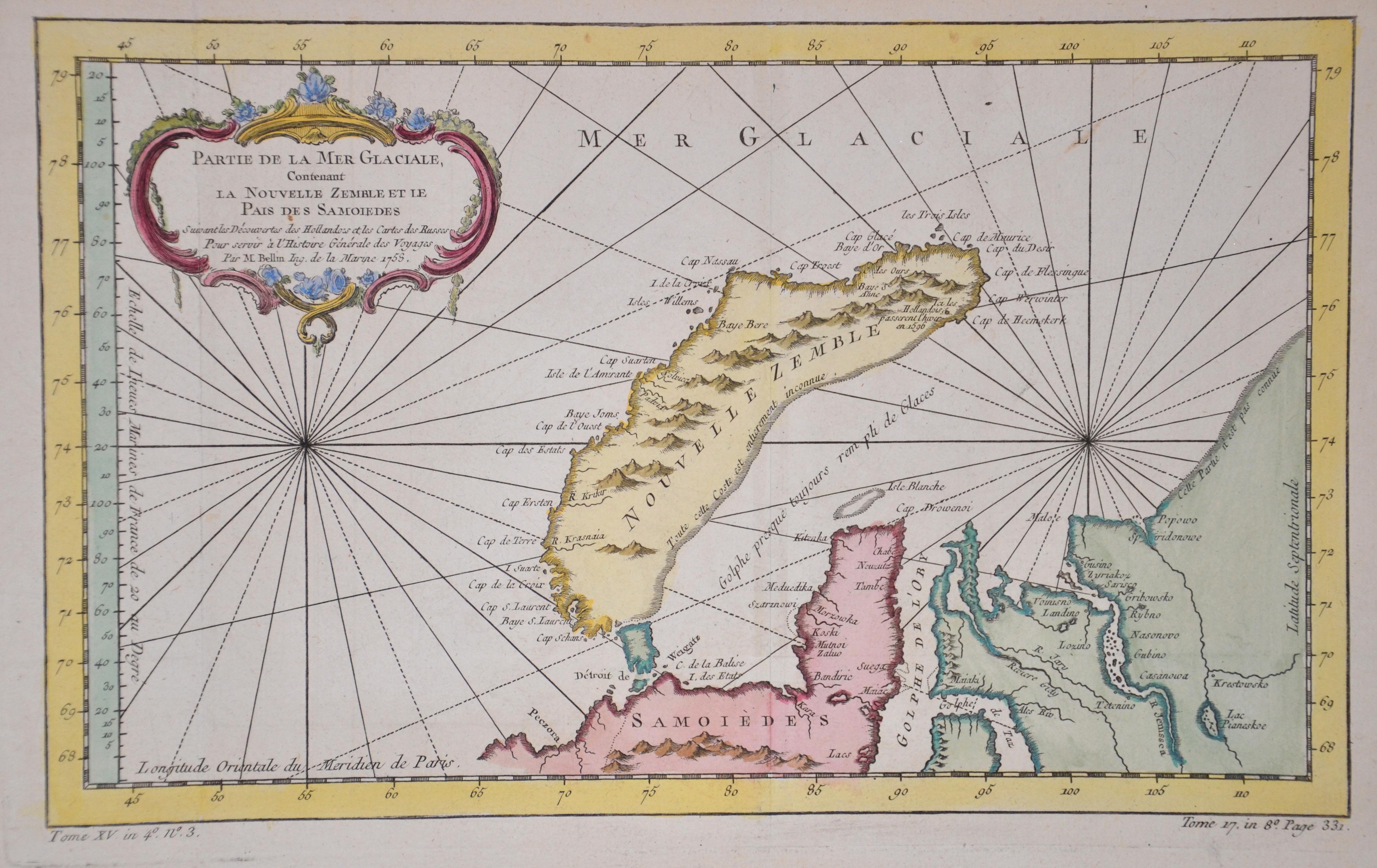 Bellin  Partie de la Mer Glaciale, Contenant la Nouvelle Zemble et le Pais des Samoides
