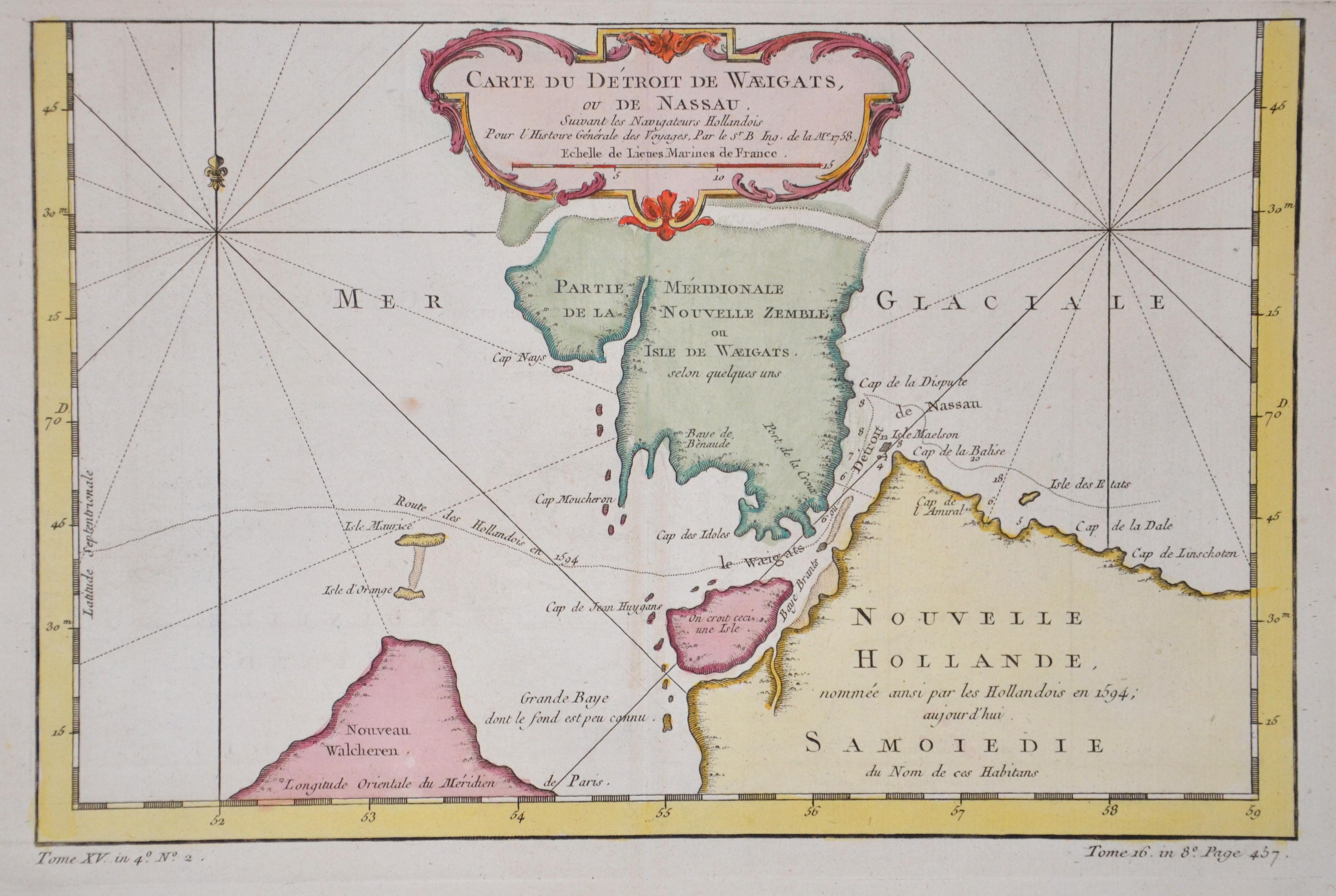Bellin  Carte du Détroit de Waeigats, ou de Nassau.