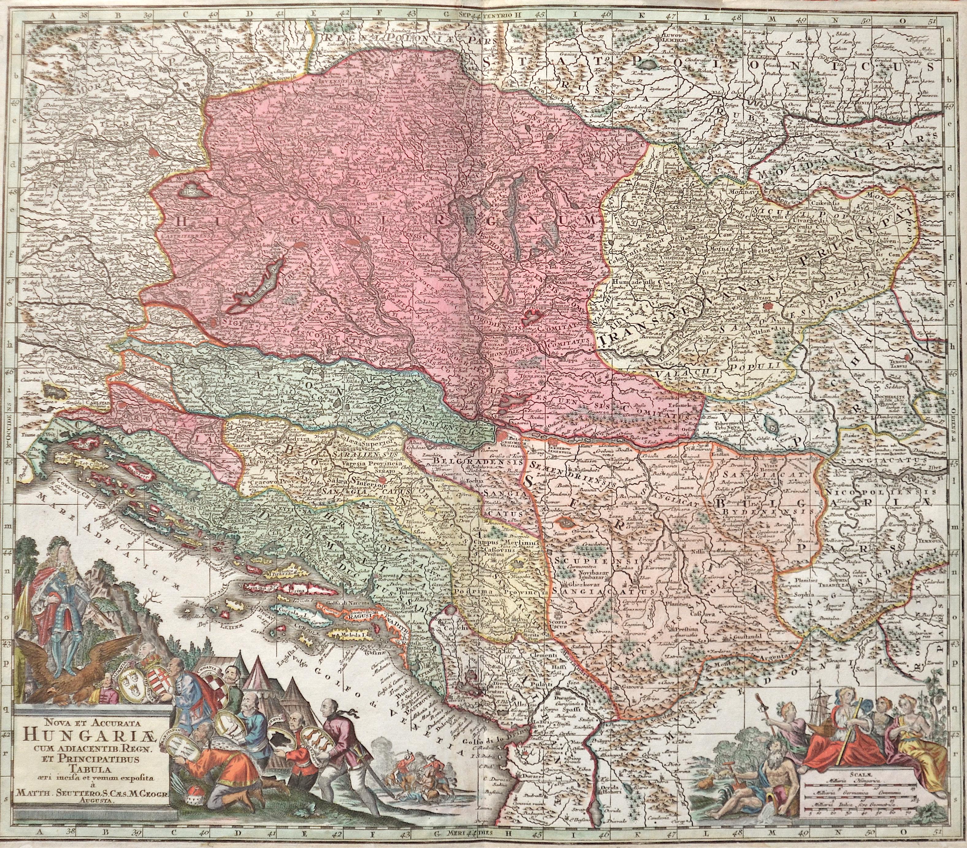 Seutter Matthias Nova et Accurate Hungariae cum Adiacentib. Regn. Et Principatibus Tabula..