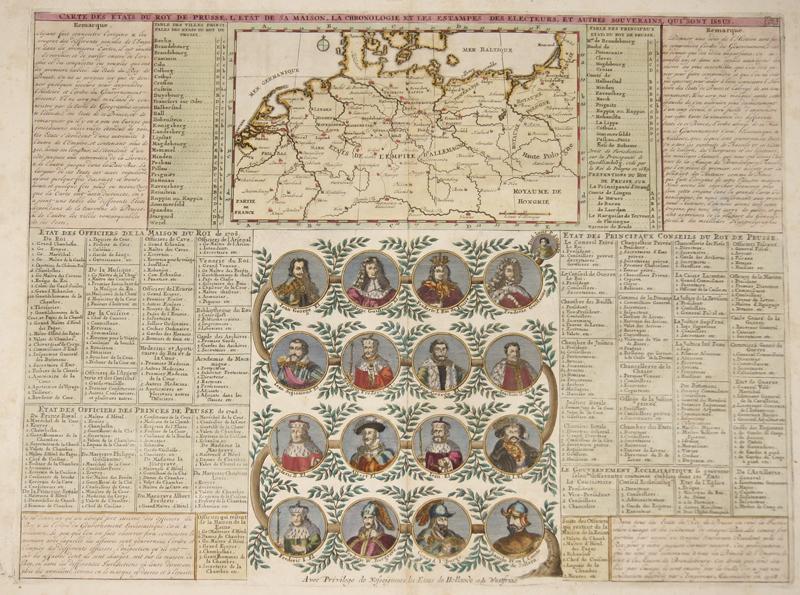 Chatelain  Carte des Etats du Roy de Prusse, L´etat de maison, la chronologie et les estampes des electeurs et autres Souvereigns, qui sont issus