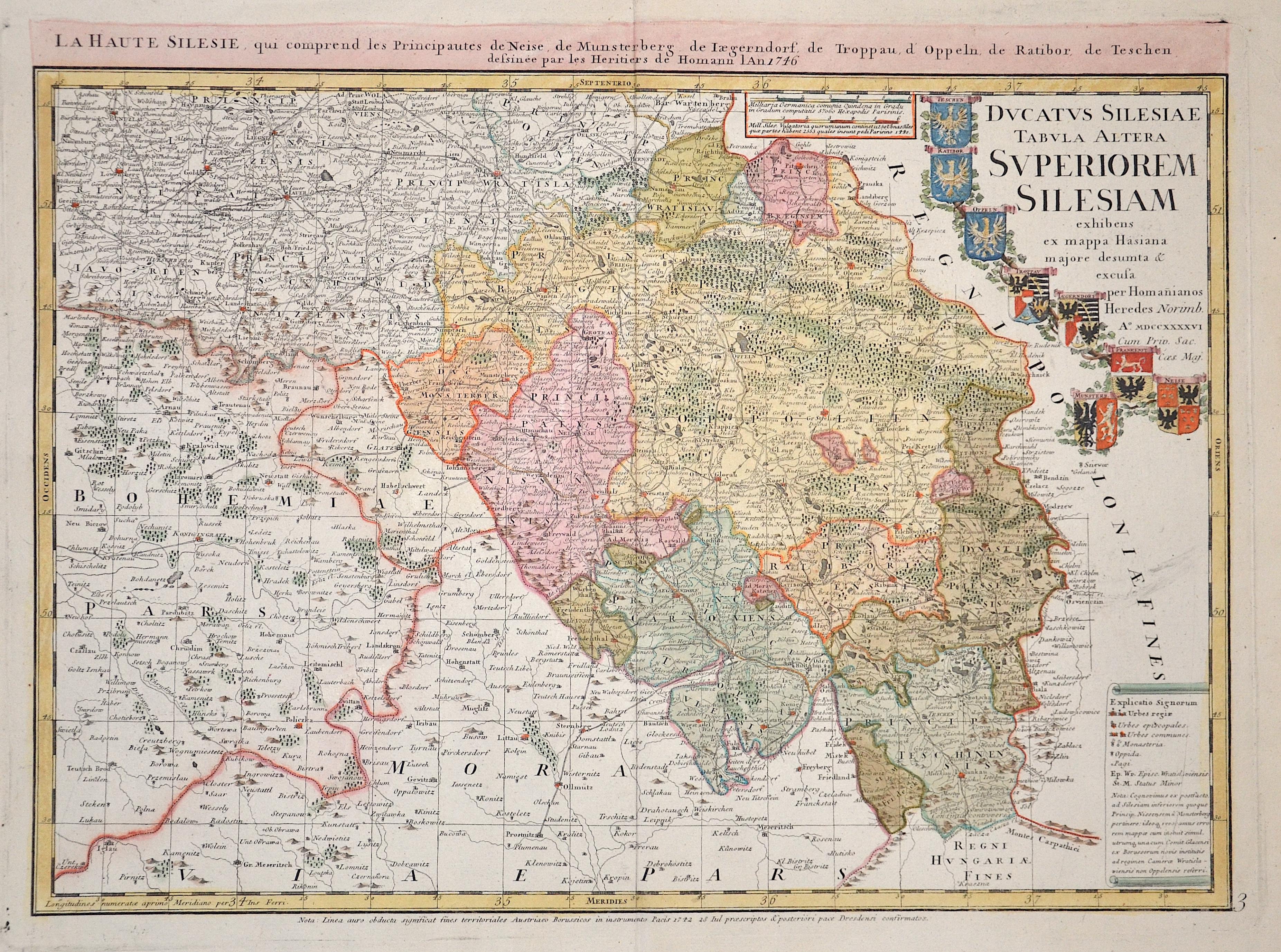 Homann Erben  Ducatus Silesiae Tabula Geographica Prima Inferiorem Eius Partem