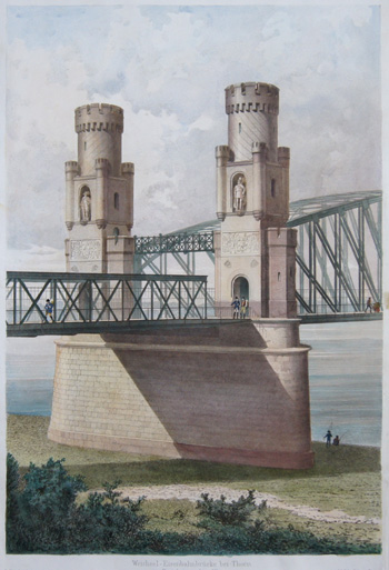 Ritter & Rieger  Weichsel- Eisenbahnbrücke bei Thorn. Portal am rechten Ufer