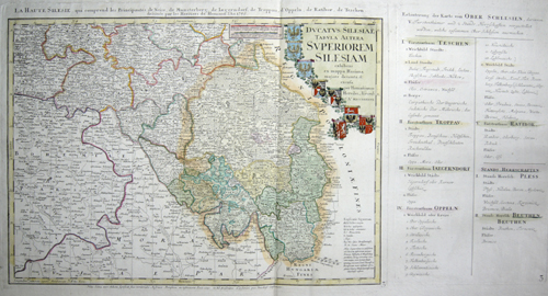 Homann Erben  La Haute Silesie, qui cemprend les Principautes de Neise, de Munsterberg, de Jaegerndorf, Troppau, de Oppeln, Ratibor, de Teschen….