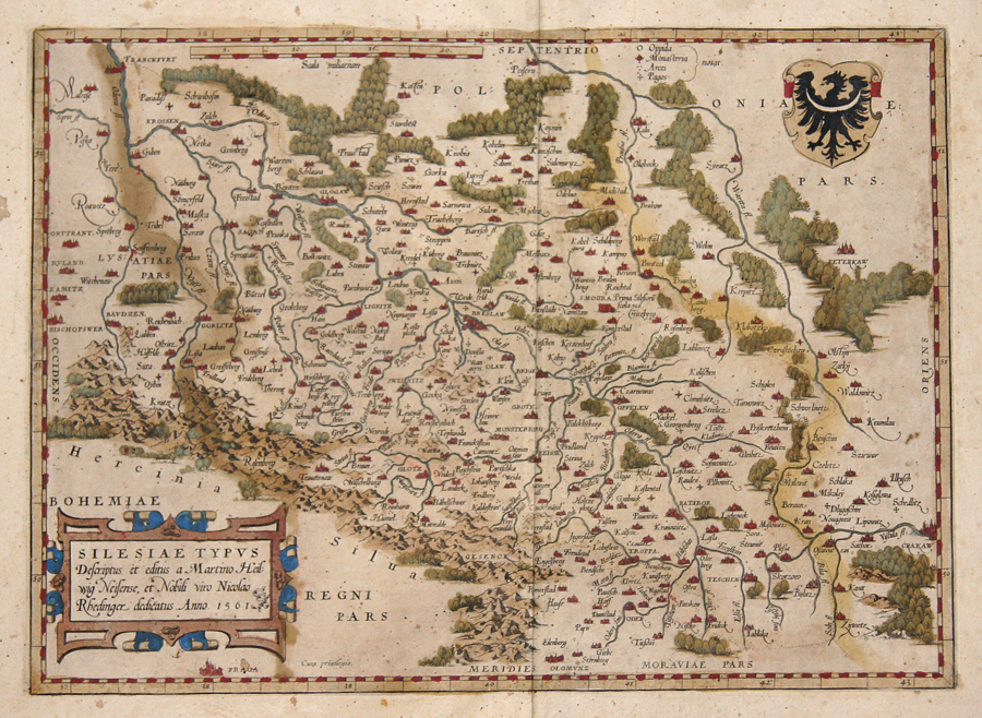 Ortelius  Silesiae Typus descriptus et editus a Martino Heilwig Neissnese, et Nobili viro Nocolao Rhedinger dedicatus Anno 1561