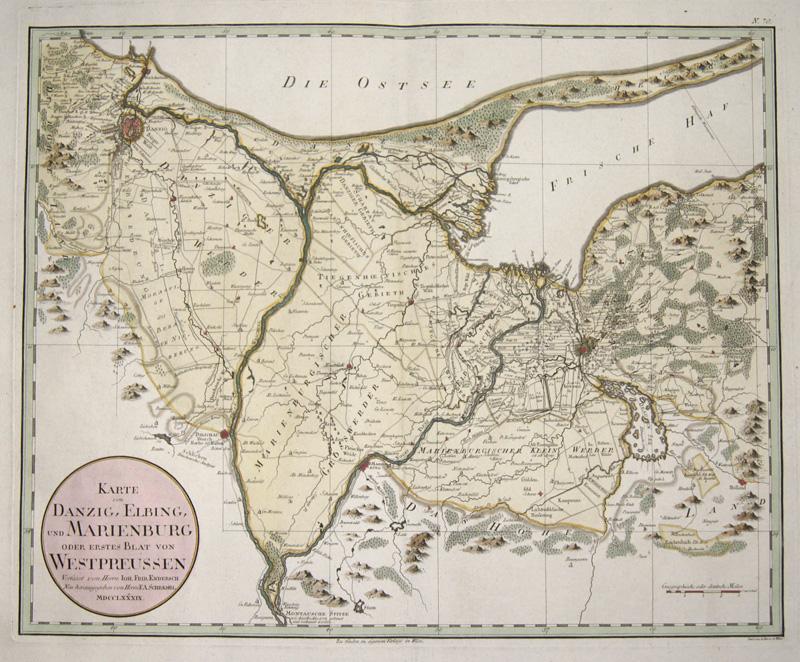 Schraembl  Karte von Danzig, Elbing, und Marienburg oder erstes Blat von Westpreussen..