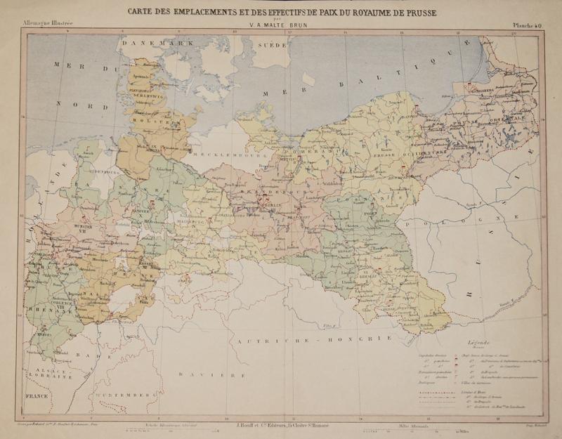 Malte-Brun  Carte des Emplacements et des effectifs de Paix du Royaume de Prusse