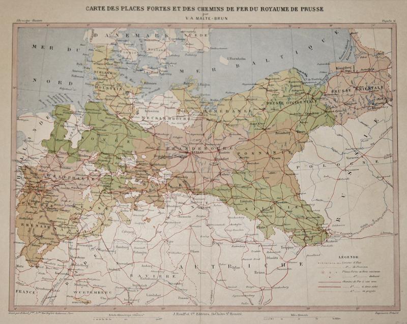 Malte-Brun  Carte des Places Fortes et des Chemins de Fer du Royaume de Prusse